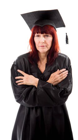 shivering: Mature student shivering Stock Photo