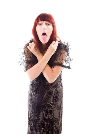 Mature woman sticking out her tongue photo