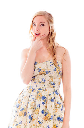 off the shoulder: Young woman thinking Stock Photo