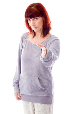 red handed: Mature woman offering hand for handshake