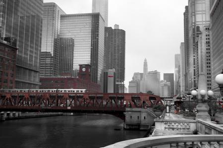 Train crossing a bridge in a city, Lake Street Bridge, Chicago River, Chicago, Cook County, Illinois, USA 2011-10-13 10:14:38 AM Editorial