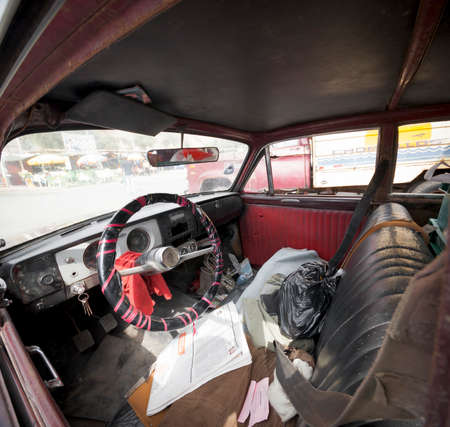 messy: Interior of an old car, Peru 2011-06-18 10:33:21 AM Editorial