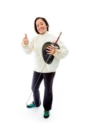 Female fencer showing thumbs up sign photo