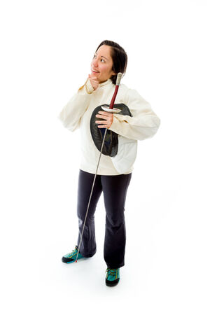 Female fencer thinking with her hand on chin photo