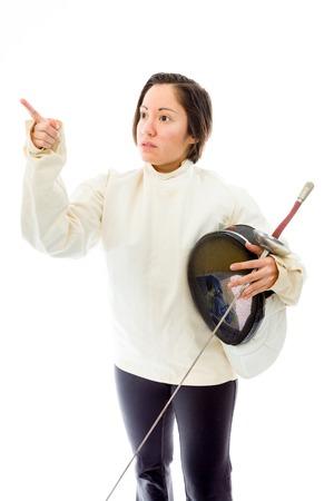 quarter foil: Female fencer showing something Stock Photo