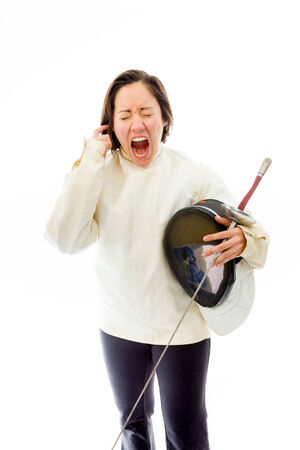 Female fencer looking frustrated Stock Photo