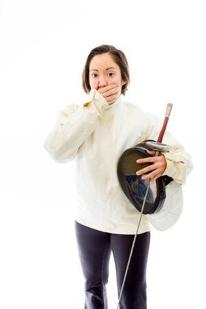 esgrimista: Esgrimista Mujer con mano en la boca Foto de archivo