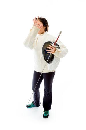 esgrimista: Esgrimista Mujer mostrando signo ok