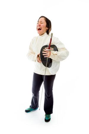 esgrimista: Esgrimista Mujer riendo