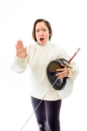 quarter foil: Female fencer making stop gesture sign Stock Photo