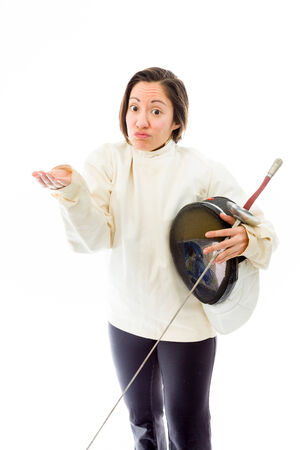 Female fencer shrugging photo