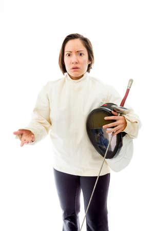 quarter foil: Female fencer gesturing Stock Photo