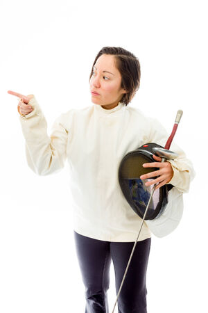 quarter foil: Female fencer pointing