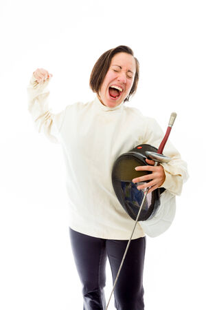 quarter foil: Female fencer celebrating success