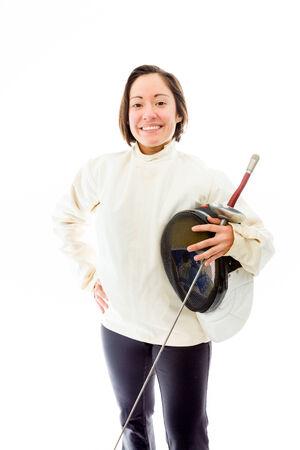 quarter foil: Female fencer smiling with her hand on hip