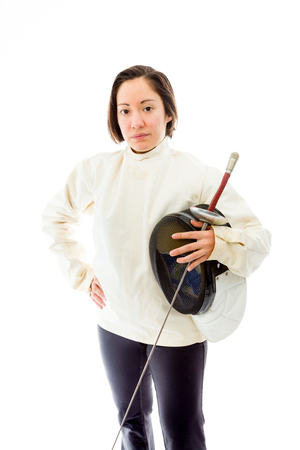 Female fencer standing with her hand on hip photo