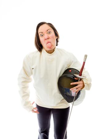 quarter foil: Female fencer sticking her tongue out