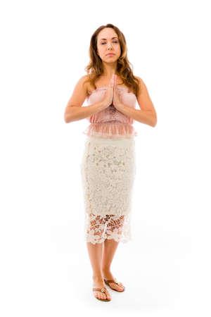 religious clothing: Model in studio isolated on white background