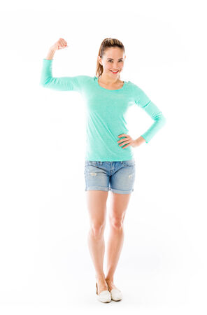 shorts t shirt sexy: Model in studio isolated on white background