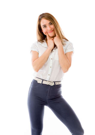 fake smile: Model in studio isolated on plain grey background