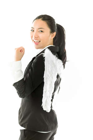 attractive angels: Attractive Asian young adult woman in angels and demon