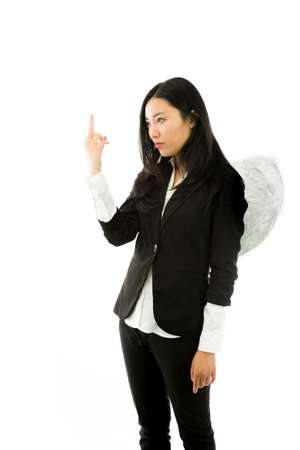 disrespect: Attractive Asian young adult woman in angels and demon