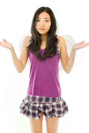 oblivious: Attractive Asian young adult woman in angels and demon