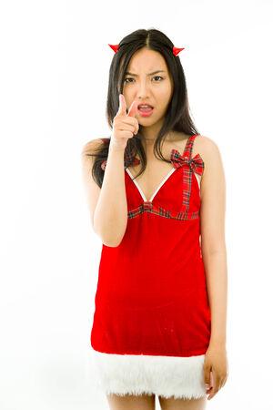 天使と悪魔で魅力的なアジアの若い成人女性 写真素材