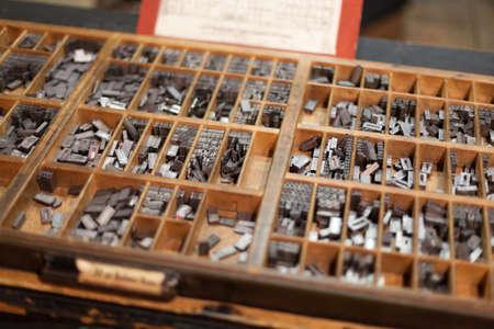 letterpress letters: Metal letterpress letters in printing machine