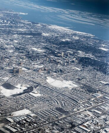 a blizzard: Aerial view of a city after blizzard viewed from CN tower, Toronto, Ontario, Canada