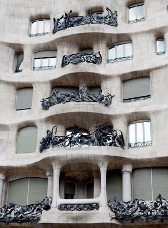 Low angle view of balconies of Mila House, Barcelona, Catalonia, Spain