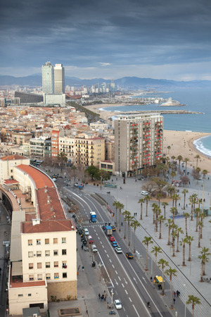 Aerial view of coastal road from the cable car, Torre Mapfre, Barcelona, Catalonia, Spain