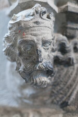Close-up of a religious saint sculpture, Barcelona, Catalonia, Spain