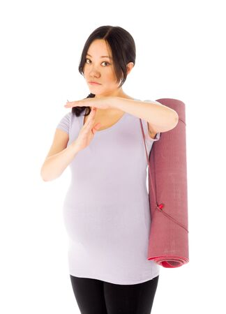 Pregnant adult asian woman isolated on white background