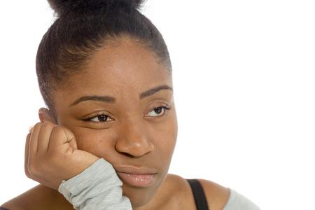 mujeres negras: Aislado Modelo aburrimiento deprimida Foto de archivo