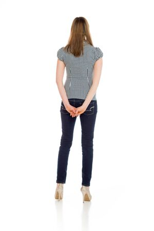 behind: Model isolated from behind Stock Photo