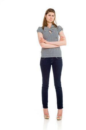 persona de pie: Modelo tristeza molesta preocupado