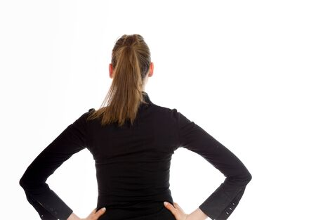 Model isolated showing her back photo