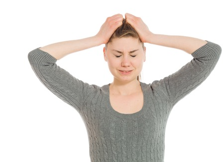 Stressed model pulling hairs