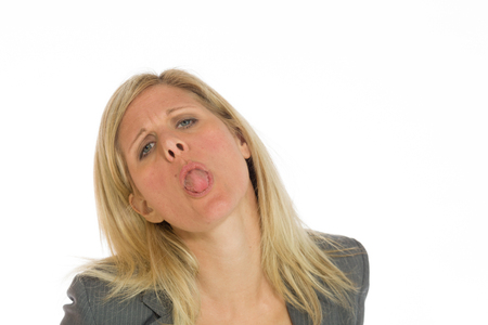 Model isolated sticking tongue out