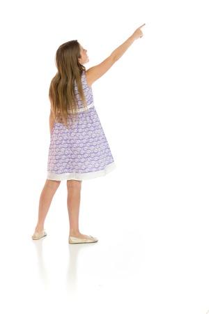 Model isolated back pointing Stockfoto