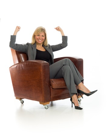 arms on chair: Model happy successful arms in the air Stock Photo