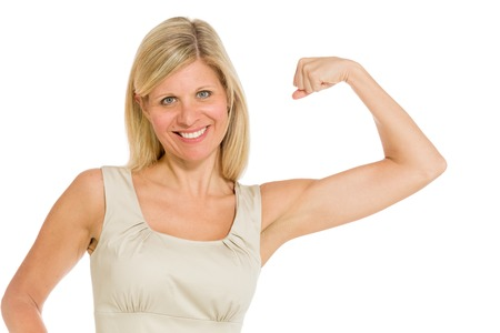 muscle girl: Model strength arm curl