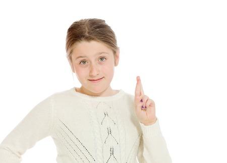 Model fingers crossed wishing lucky Imagens