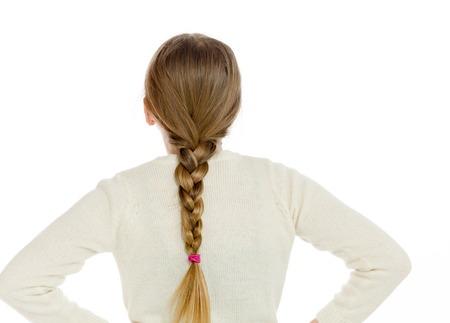 cute teen girl: Модель изоляции, показывая ее обратно Фото со стока