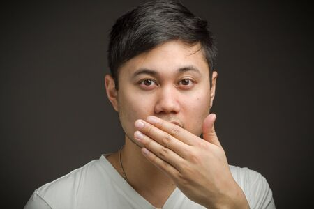 covering: Model isolated covering mouth