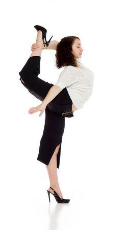 legs apart: Model shot in studio on white Stock Photo