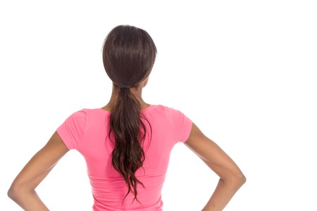 head and  back: Model isolated showing her back Stock Photo