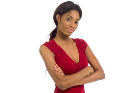 Model successful with arms crossed confident