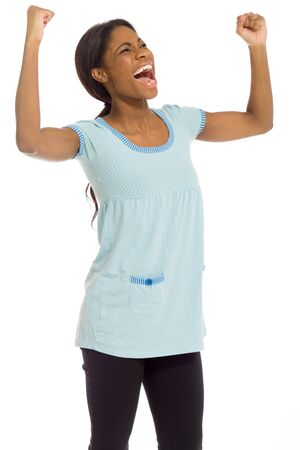 Model happy successful arms in the air photo
